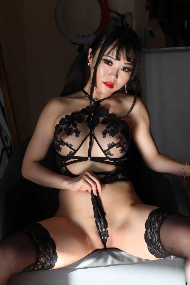 Shaved asian babe